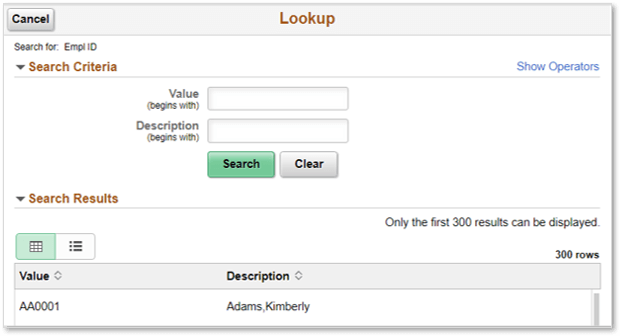 Show Search Criteria Fields by Default in a Fluid Prompt Lookup